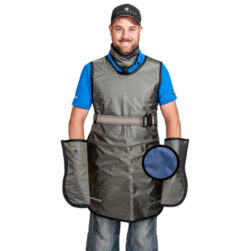 Frontal Protection Apron with Integrated Thyroid Collar, XSmall, Metallic Blue