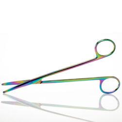 """Metzenbaum Scissors 7"""" Curved, Rainbow Titanium Coated"""
